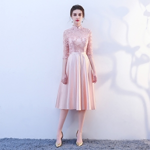 Image 5 - New pink fairy sweet lady girl women princess bridesmaid banquet party ball dress gown free shipping