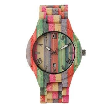 Montres à la main en bambou femmes Multiful couleur décontracté Quartz bois montres cadeaux montres en bois 2018 hommes reloj hombre