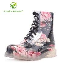 Cuculus Nouvelle Marque Plat Talon Femmes Chaussures Printemps Automne  Cheville Bottes femmes Bottes de pluie Occasionnels 84a9af808793