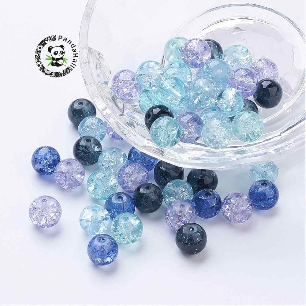 4mm 6mm 8mm Painted Crackle Glass Beads Round Mixed Color for Jewelry Making