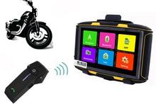 2017 Versión Actualizada 5.0 Pulgadas Android Impermeable Motocicleta GPS de Navegación con los 1000 M Bluetooth Intercom Headset 8G RAM512 MB