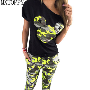 Camouflage Mickey Summer Tracksuit T Shirt and Pants Set Fashion Sweat Suits Women