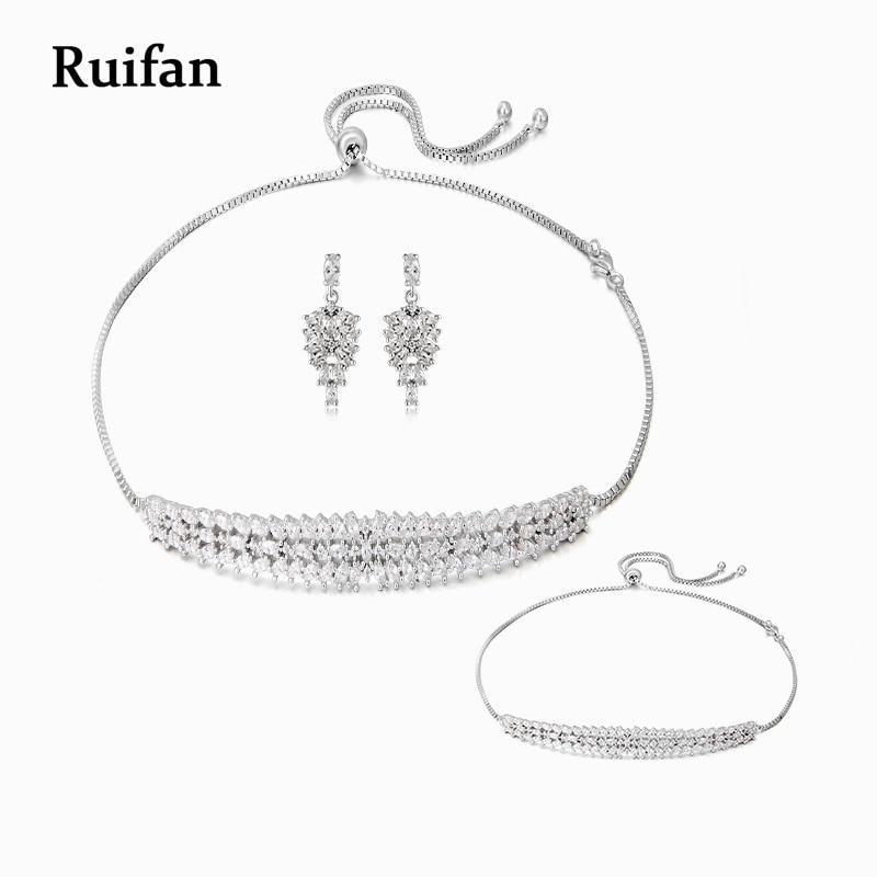 Zircon cubique de luxe 925 en argent Sterling collier boucles d'oreilles goutte Bracelet ensembles de mariage bijoux de mariée ensembles accessoires YJS002