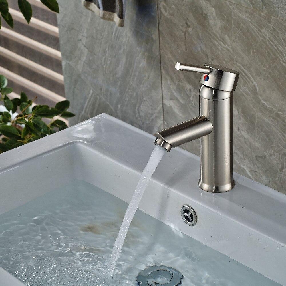 Никель матовый Ванная комната смеситель на бортике раковиной смеситель нового