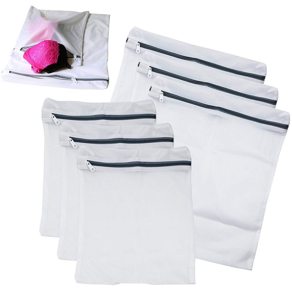6 Pack Laundry Mesh Net Washing Bag Clothes Bra Sox Lingerie Socks Underwear Washing Machine Protection Net Mesh Bags