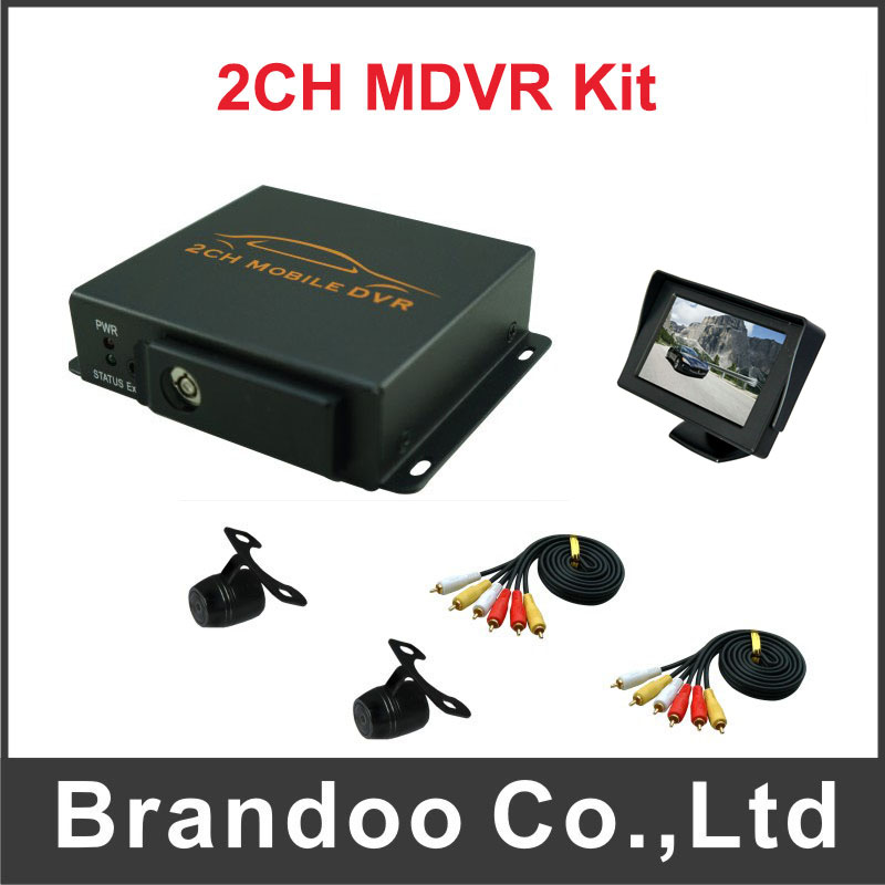 2 channel car dvr+ 2pcs mini cameras+1pcs monitor,used for car,taxi,bus,for free shipping