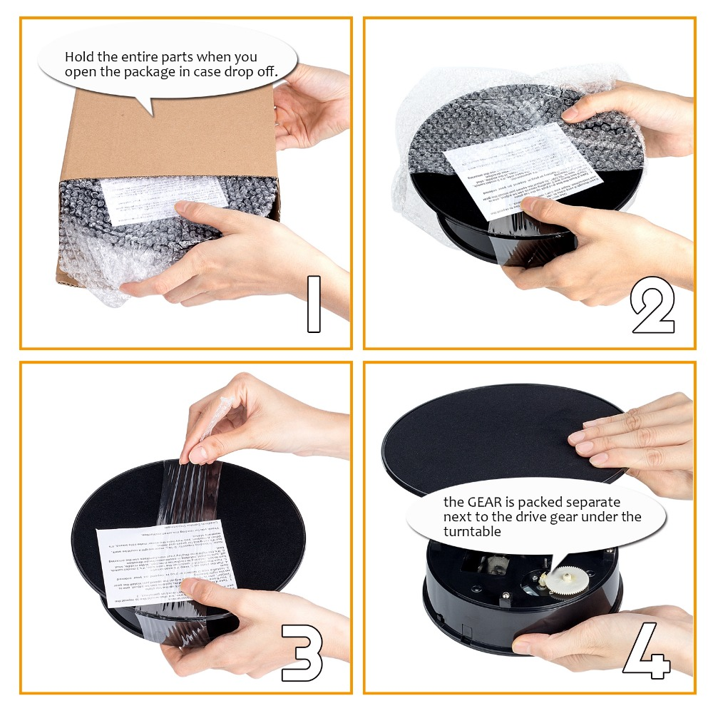 20cm Black Velvet Top Electric Motorized Rotary Rotating Display Turntable Max Load 1.5kg for jewelry Model display stand