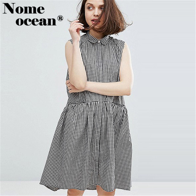 a7c4e8c15bc0 Classic Plaid Dresses of Girls Sleeveless Button-up Front Shirt Dress Color  Block Black and