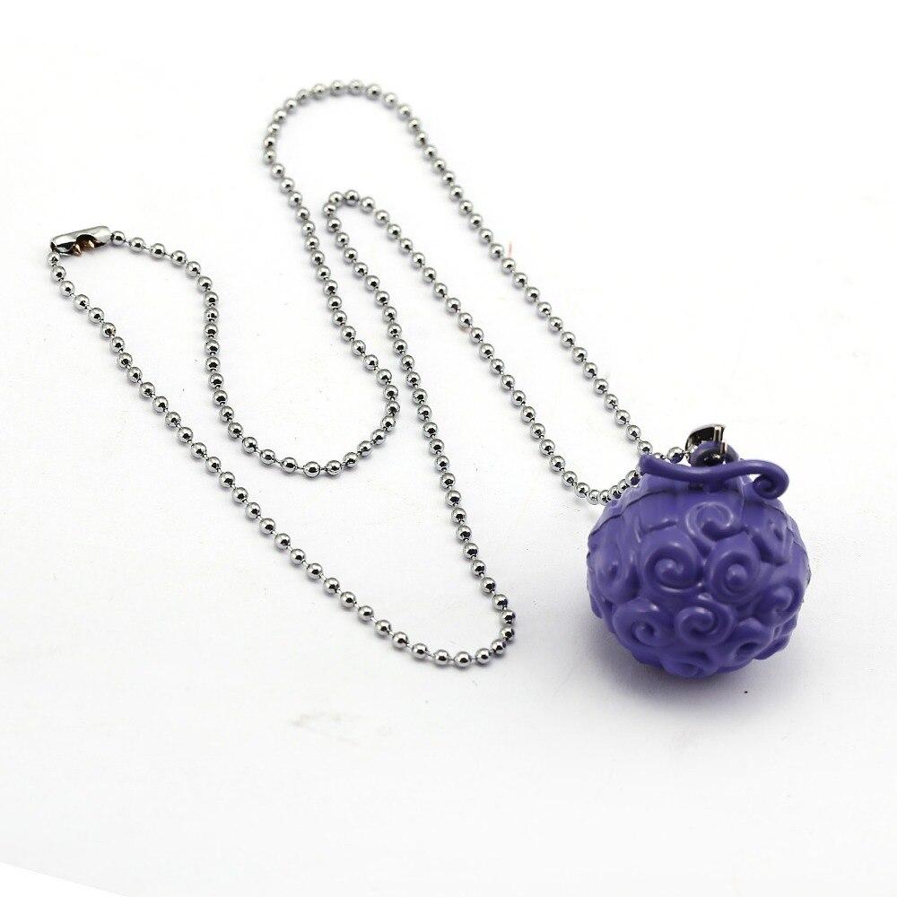 Anime ONE PIECE Necklace Luffy Ace Law Devil Fruit Cursed Fruit Metal Bead Chain Pendant Men Women Necklaces Jewelry Accessories