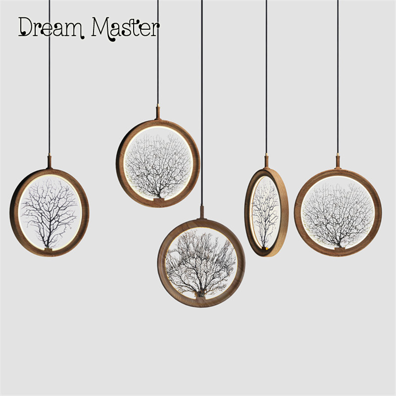 Modern minimalist wooden dining room chandelier of Chinese painting and calligraphy artistic creative chandelier free shipping