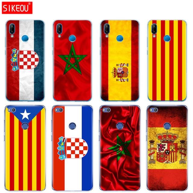 Silicone Bìa Điện Thoại Trường Hợp Đối Với Huawei P20 P7 P8 P9 P10 Lite Cộng Với Pro 2017 p thông minh 2018 Tây Ban Nha morocco Croatia sáng cờ