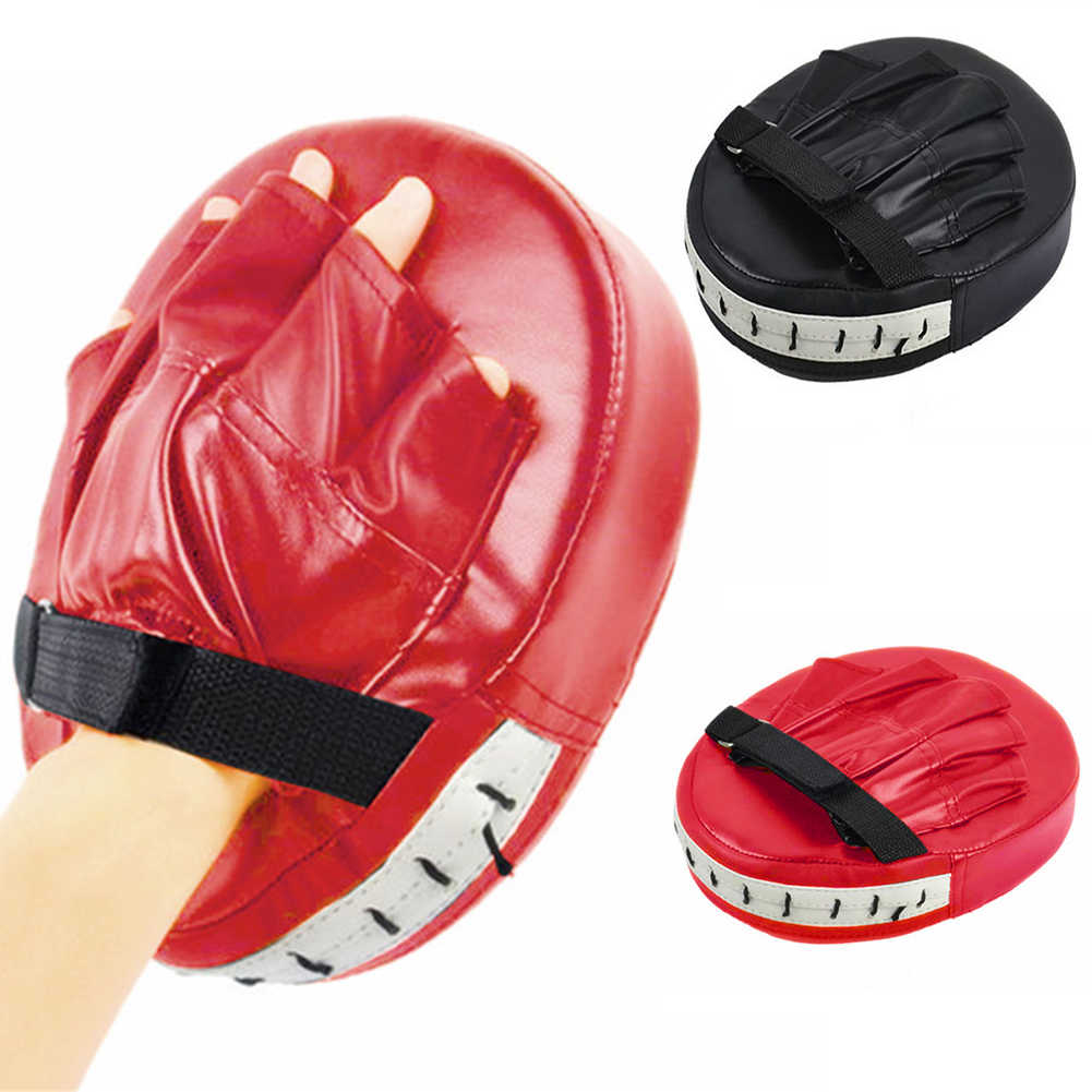 Hitam Merah Sarung Tinju Bantalan untuk Muay Thai Kick Boxing MMA Pelatihan PU Busa Boxer Target Pad