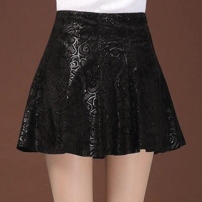 Женская плиссированная юбка из овчины с принтом - 3