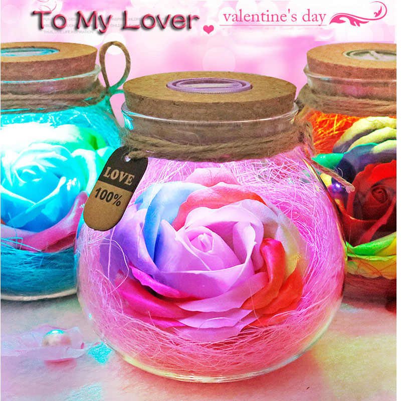 Led Romantic Rose Flower Night Light Lucky Bottle RGB Dimmer Lamp With 16 Color Remote Holiday Gift For Lover Girl Bedroom Decor