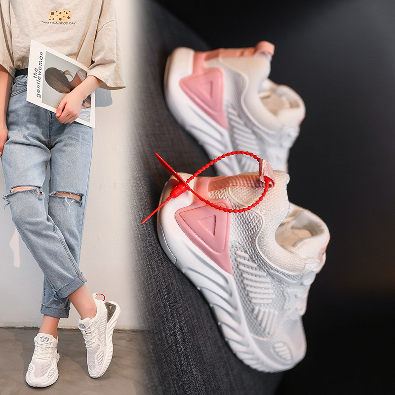 Women Chunky Lace-up Sneakers Sole Ladies Casual Vulcanize Soft bottom Shoes Web Celebrity Dad female fashion Sneakers Designer