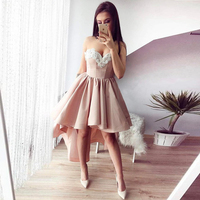BeryLove Fashion High Low Blush Homecoming Dresses 2018 Beaded Short Homecoming Gowns Cheap Sweetheart Graduation Dresses