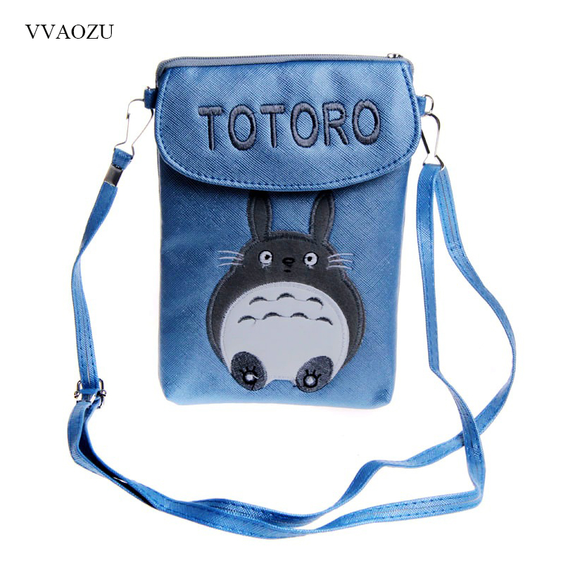 Japan Anime Totoro PU Leather Messenger Bags Cute Girls Women Phone Small Shoulder Crossbody Bag Casual Coin Wallet Purse dachshund dog design girls small shoulder bags women creative casual clutch lattice cloth coin purse cute phone messenger bag