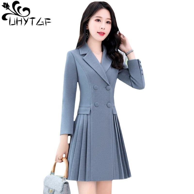 b434cc780b0f UHYTGF elegante mujer abrigo de lana nueva moda plisada falda estilo largo  prendas de vestir ...