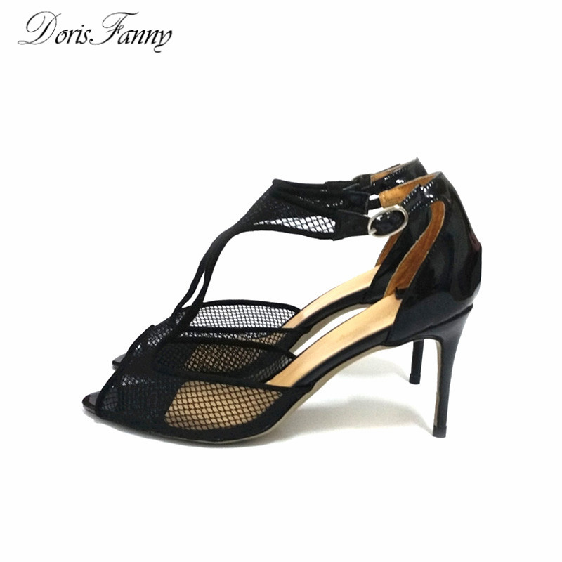 2016 DorisFanny New Arrival Mesh women summer shoes and sandals black 8cm stiletto womens shoes denim zipper hollow worn stiletto womens sandals