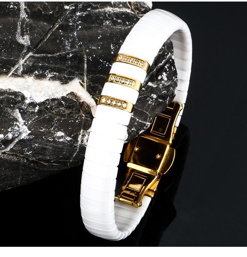 Bracelet en céramique noir blanc hommes femme