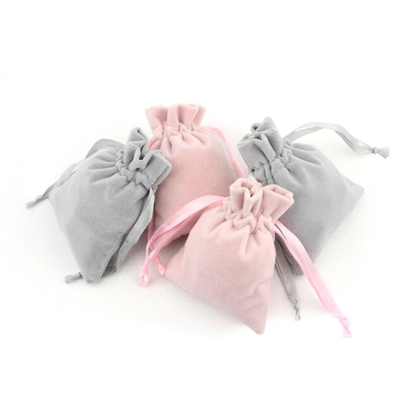 10pcs/Lot 8*10cm High Quality Custom Logo Printed Drawstring Bag Velvet Jewelry Pouch Christmas Gift Bag Storage Bag Bp180