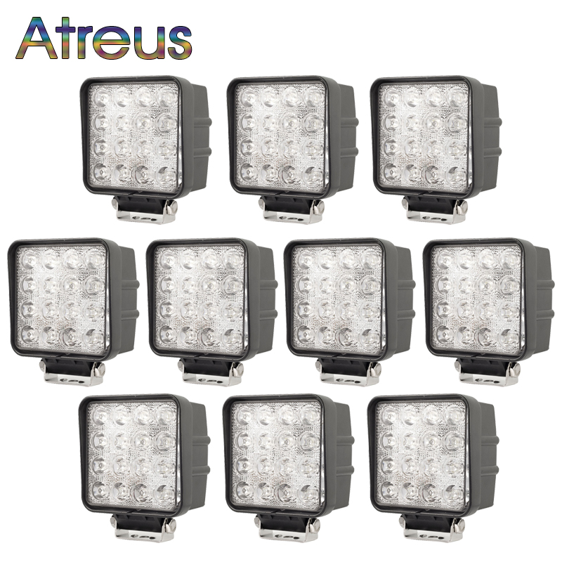 Atreus 10pcs 48W Square Car LED Work Light 12V Spot Flood For 4x4 Offroad Tractor Truck 4WD Boat Motorcycle Driving Fog Lights 1pcs 48w square round shape flood worklight head lamp truck motorcycle off road fog lamp tractor car led headlight work lights