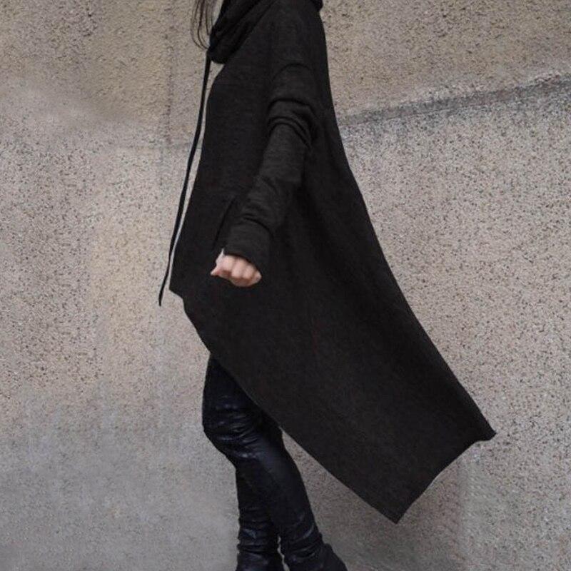 Moda Camisola Hoodies Mulheres Casuais Outwear Casaco Com Capuz Capa Manto Ladies Irregular Solto Manga Comprida Com Capuz Pullover Streetwear
