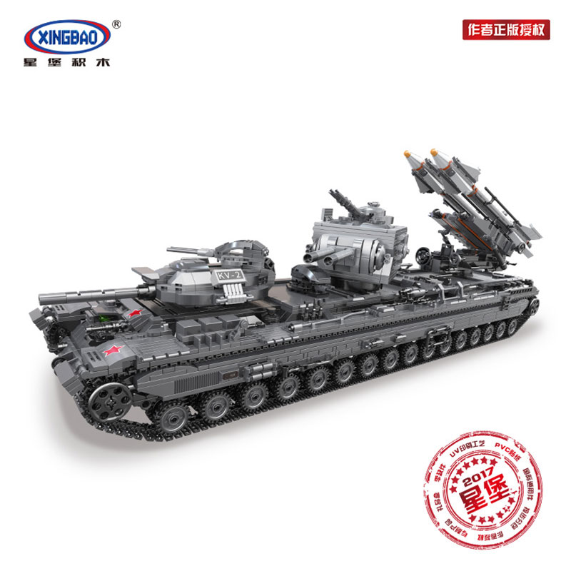 IN STOCK XINGBAO 06006 3663Pcs Creative MOC Military Series The KV 2 Tank Set Educational Building