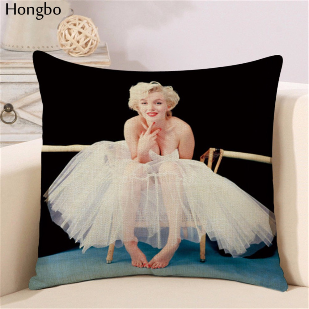 Hongbo Fashion Marilyn Monroe Cushion Covers Classic Idol Pillow Cover Invisible Zipper square Throw Pillow Case Home Decor in Cushion Cover from Home Garden