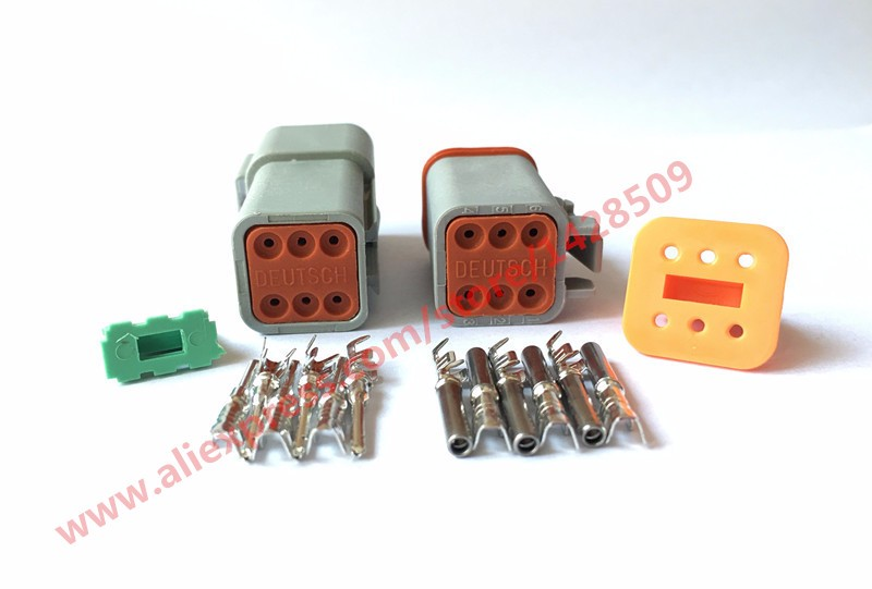 50/100 Set 6 Pin Female Male Waterproof Electrical Wire Connector Plug Deutsch Enhanced Seal Shrink Boot Adapter DT06-6S DT04-6P