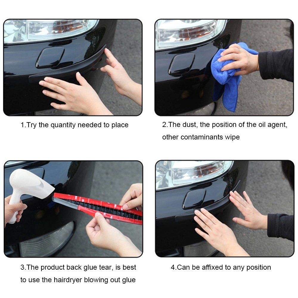 2Pieces Durable 269C Car Carbon Fiber Protector Anti Crash Bumper Guard Strip Sticker Accidente de coche bar accident de voiture in Car Stickers from Automobiles Motorcycles