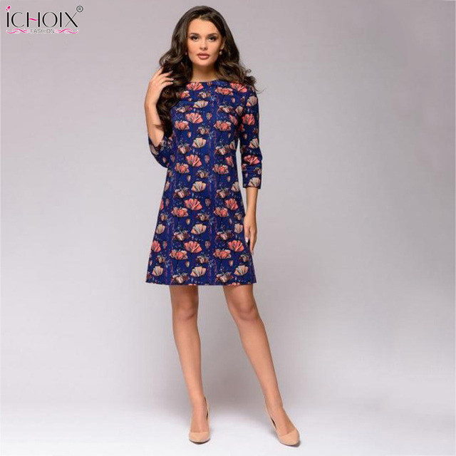 f01bb1691c8e4 US $20.56 |Autumn Winter Casual Dress Fashion Party Dress Women 2018  Vintage Floral Print Dress for ladies Red Blue O Neck Flower Dress-in  Dresses ...