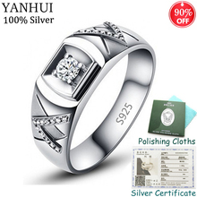 YANHUI Men Women Gift Original Silver Wedding Ring With Certificate Natural 0.5Ct CZ Zirconia Engagement Rings Fine Jewelry R077