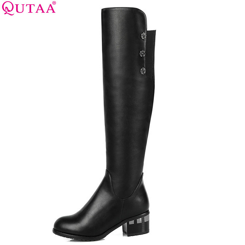 QUTAA Fashion Autumn Winter Women Shoes Motorcycle Knee High Boots Fashion High-Heel Shoes Woman Boots size 34-43 цены онлайн