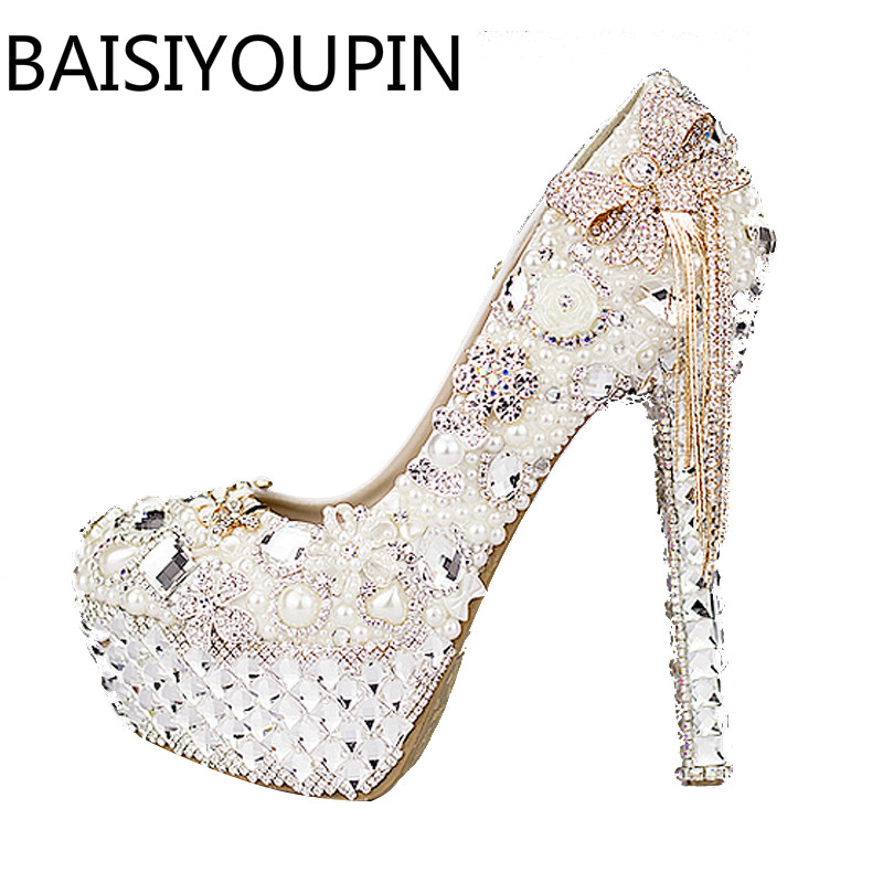 Women Butterfly Diamond High Heels Shoes Female Pearl Wedding Shoes White Crystal Tassel Bride Paltform Princess Dress Shoes цена