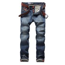 Blue Jeans Men Straight Denim Jeans Trousers Plus Size 29-40 High Quality Cotton Logo Brand orange button Mens Jeans 778