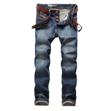 Blue Jeans Men Straight Denim Jeans Uomo Trousers Plus Size 29-40 High Quality Cotton Brand Orange Buttons Men`s Jeans 778