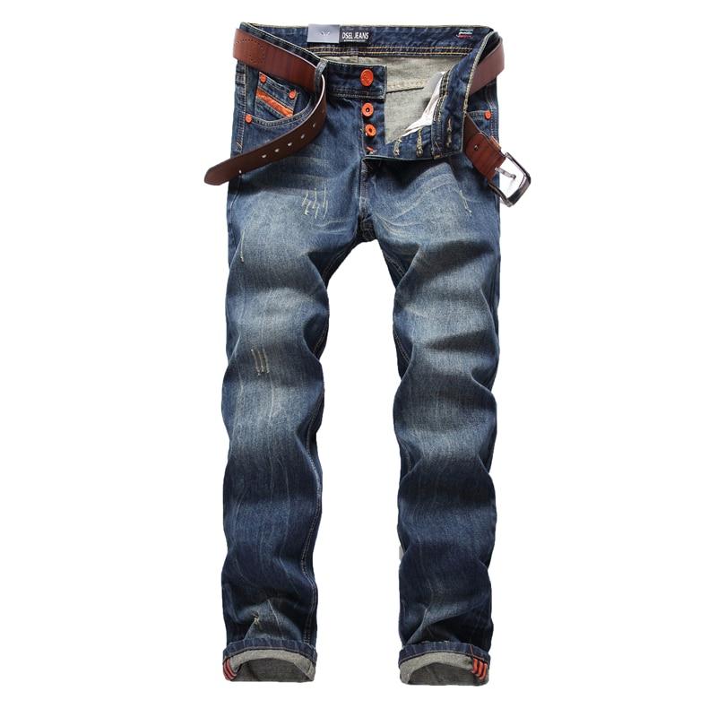 синие джинсы для мужчин прямые джинсы уомо мотобрюки плюс размеры 29-40 высокое качество хлопковые фирменные носки оранжевый пуговицы для мужчин это джинсы для женщин 778