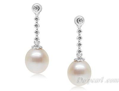 2017hot Pearl Jewelry Earrings 925 Silver 8 9mm Freshwater