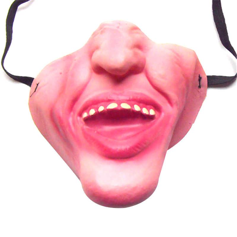 забавные страшные взрослые Mаска прикол Маски на хэллоуин латекс Косплей Половина лица страшная маскарадная клоуна