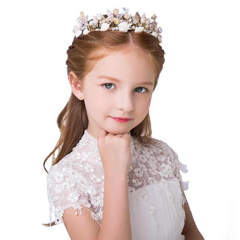 Ручной работы в виде морской звезды жемчуг раковину украшения Брак студия свадебный венец с морскими звездами повязка на голову свадебные аксессуары для волос