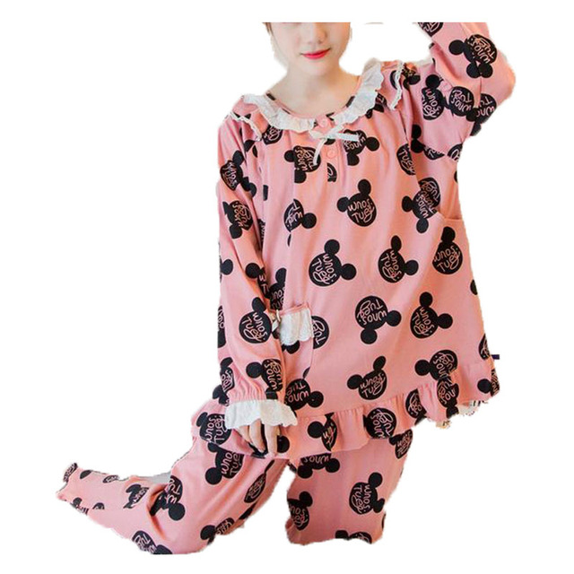 Maternity Wear 2017 Spring New Casual Home Service Long Sleeves Cotton Bear Pregnancy Clothes Sets Women's Maternity Clothing