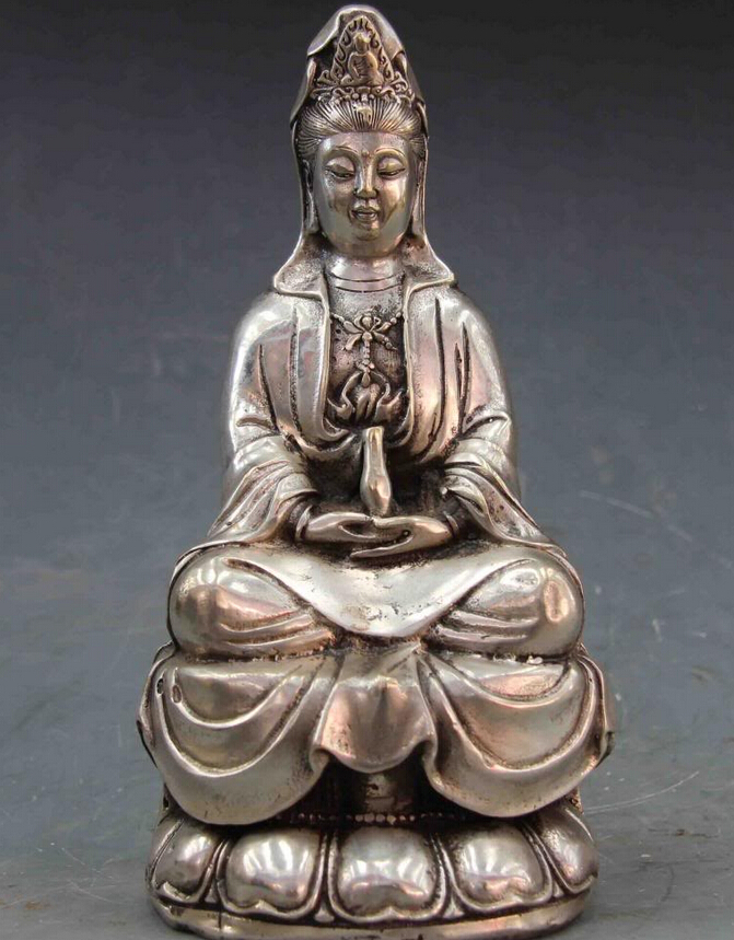 Collectible Bronze Lion Statue S0647 9 Chinese Buddhism White Copper Silver Kwan-yin Guan Yin Boddhisattva Goddess B0403