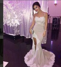 2017 Sexy Abendkleid Abendkleider Meerjungfrau Spitze Split Satin Neue Ankunft Preiswerte Lange Prom Kleider Partykleid Abendkleid