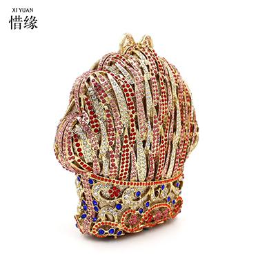 XIYUAN BRAND new luxury full diamond color ice cream evening dinner hand bag High-grade crystal shoulder bag ladies wallets
