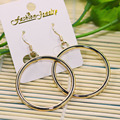 Double Sided Circle Round Massive Hoop Earrings Gold Plated Women Hanging Statement Fashion Jewelry ZSE-0036