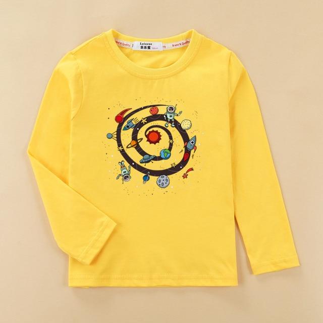 De dibujos animados espacio planeta camisa chico Camiseta de algodón de manga larga bebé niño casual o-Cuello ropa de niña tops niños otoño camisetas
