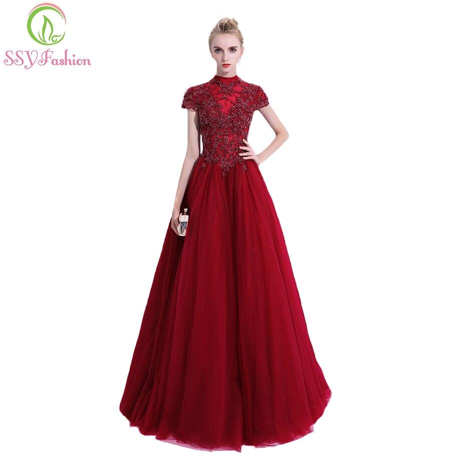 SSYFashion New Huxury Beading Long Prom Dress Elegant Wine Red High ...