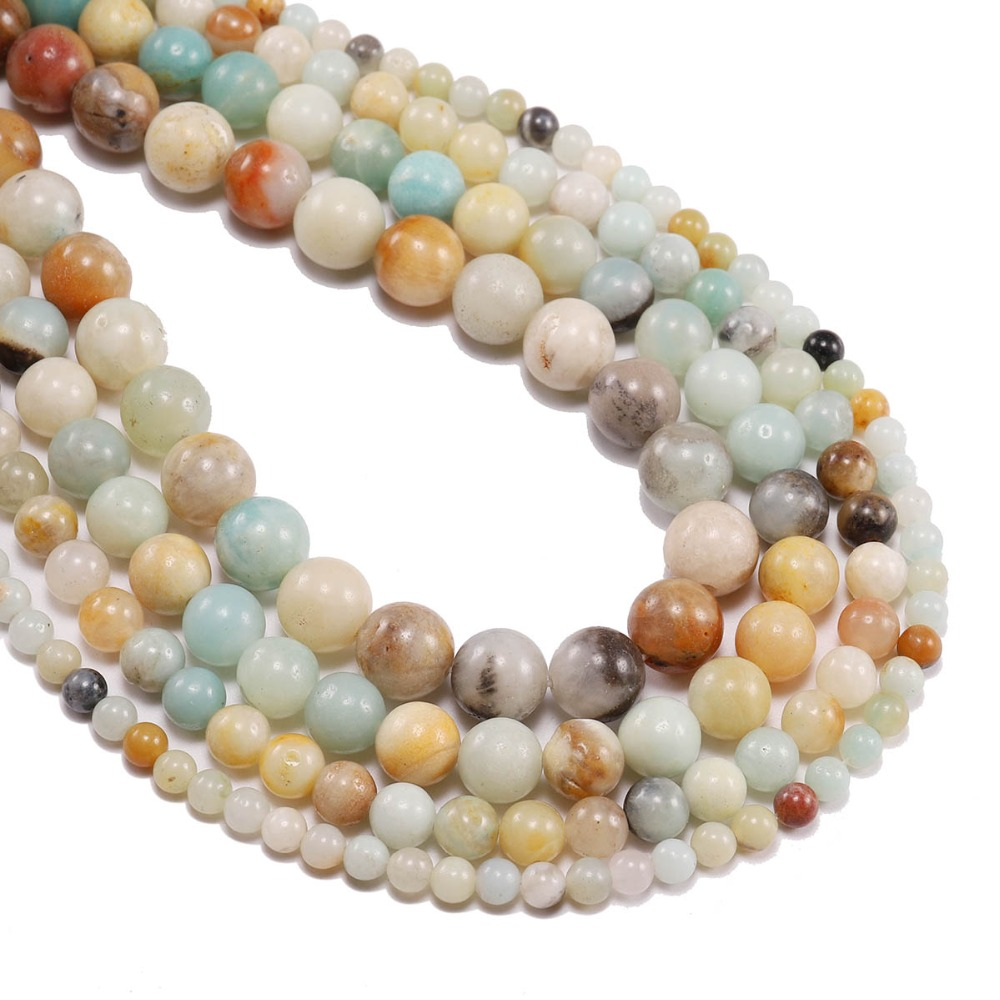 Frugal 1strand/lot 4 6 8 10 12 Mm Matte Natural Stone Amazonite Beads Forest Round Loose Spacer Bead For Jewelry Making Diy Bracelet Jewelry & Accessories
