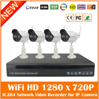 4CH Full HD 1080P H 264 Network Video Recorder 4Pcs Outdoor WiFi Wireless 1280 720P IP